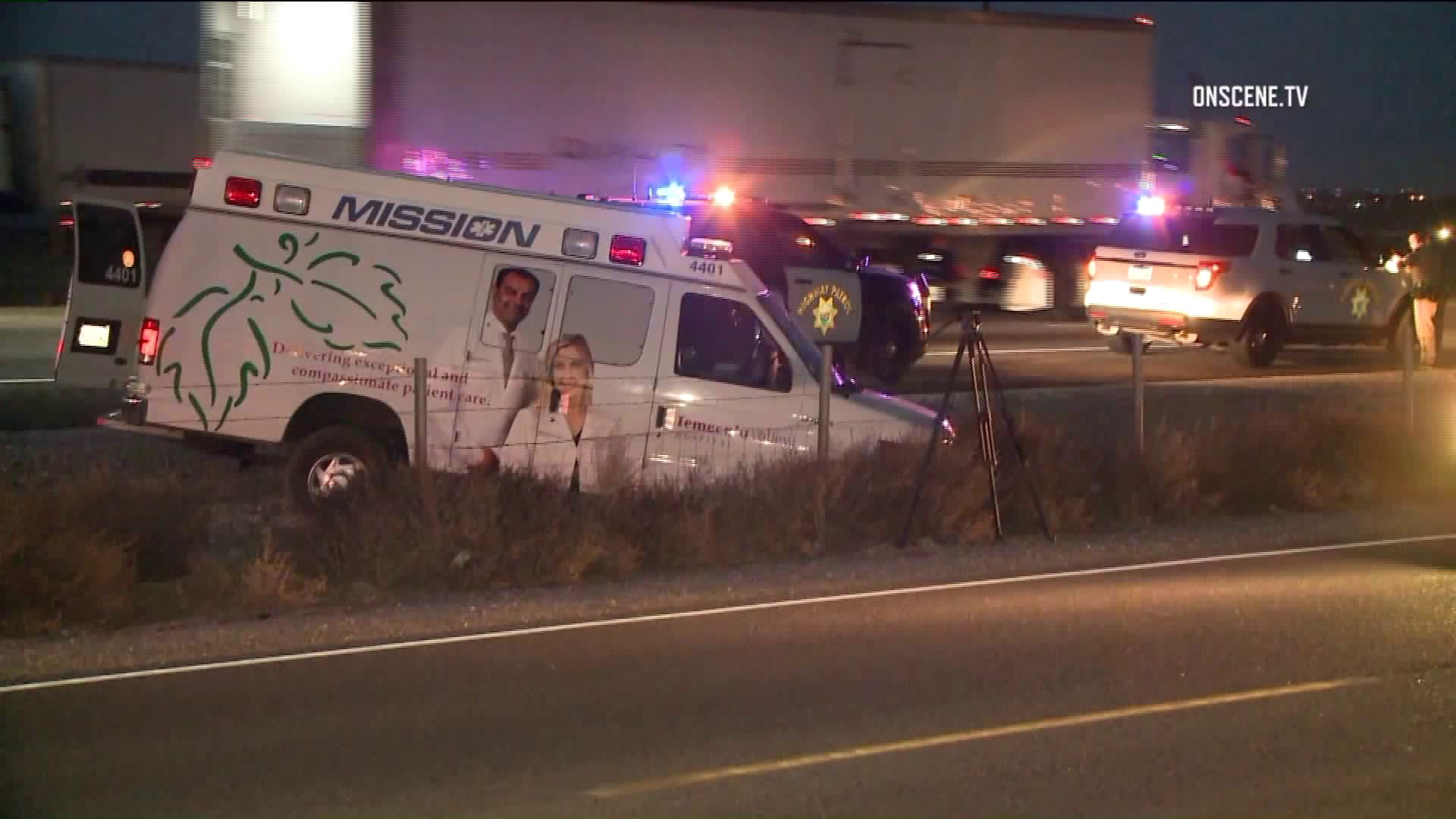 An ambulance is seen after a high-speed chase on Dec. 16, 2018. (Credit: OnSceneTV)