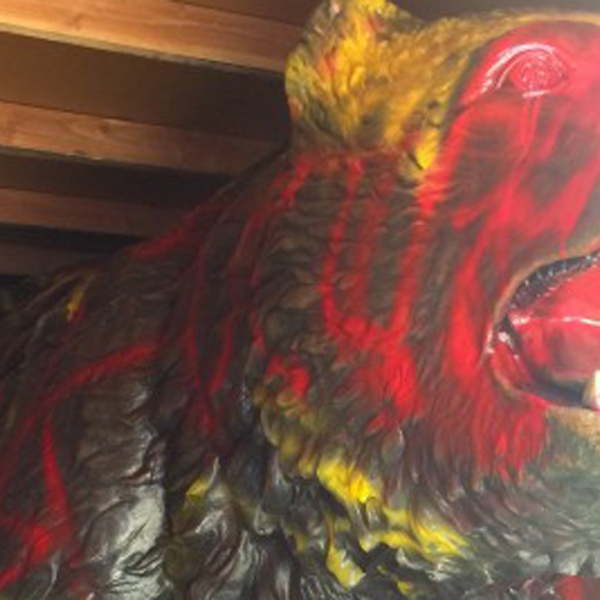 The Daily Bruin tweeted this image of the Bruin Bear, spray-painted red and yellow, on Nov. 15, 2018.