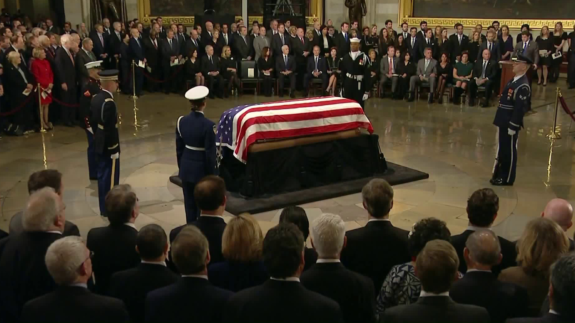 A ceremony was held honoring George H.W. Bush at the U.S. Capitol on Dec. 3, 2018. (Credit: Pool)
