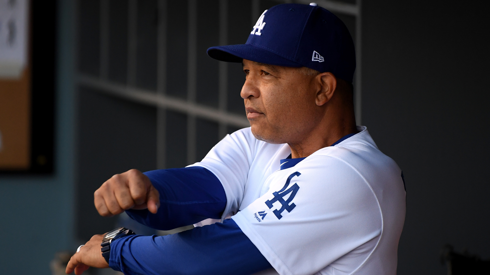 L.A. Dodgers Manager Dave Roberts looks on prior to Game Three of the 2018 World Series against the Boston Red Sox at Dodger Stadium on October 26, 2018. (Photo by Harry How/Getty Images)