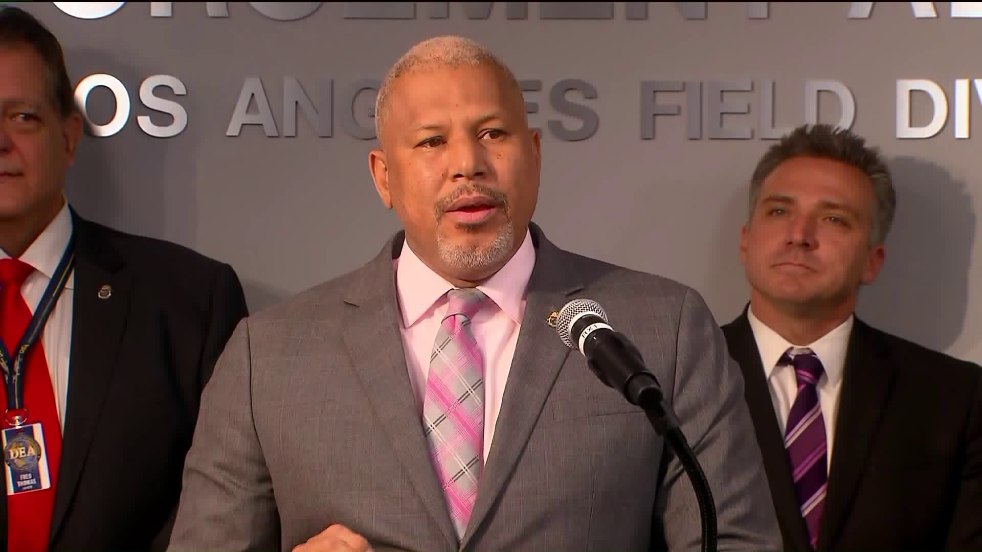 DEA Associate Special Agent in Charge Daniel Comeaux speaks at a news conference on Dec. 18, 2018. (Credit: KTLA)