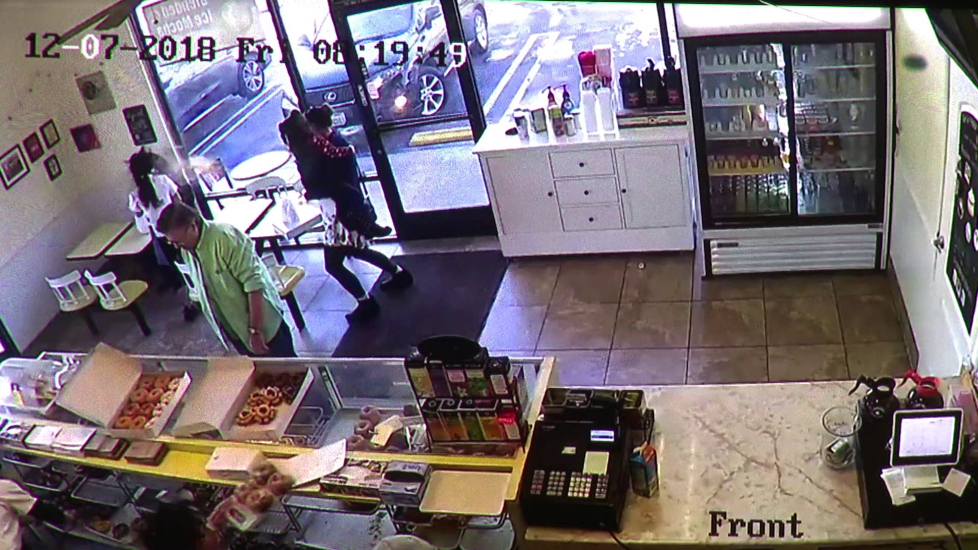 The owner of a Canoga Park donut shop was doused with hot coffee when she asked a homeless woman to leave on Dec. 7, 2018.