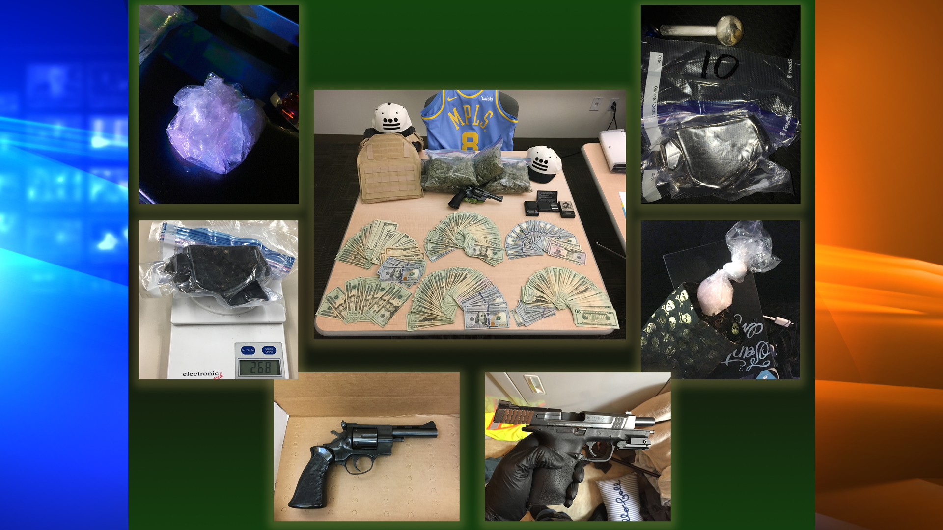 Moorpark police investigators arrested 14 people and seized a cache of drugs, guns and cash during a large-scale bust targeting prison-based drug ring. (Credit: Moorpark Police Department)