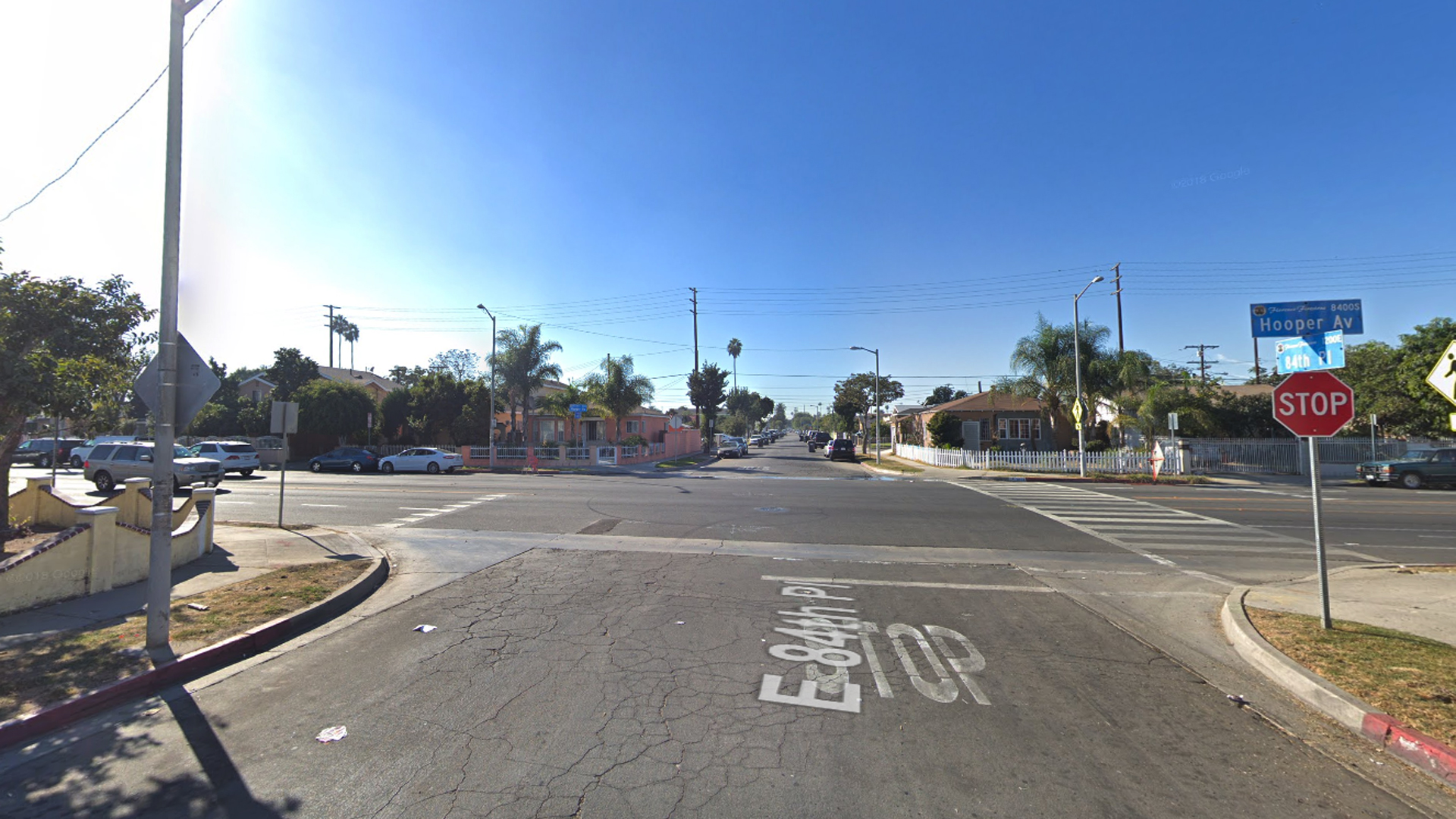 The corner of East 84th Place and South Hooper Avenue in the Florence-Firestone neighborhood of unincorporated South Los Angeles is seen in a Google Maps street view image from November 2017.
