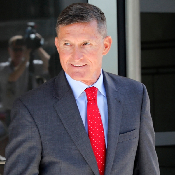 Michael Flynn, former national security advisor to President Donald Trump, departs the E. Barrett Prettyman United States Courthouse following a pre-sentencing hearing July 10, 2018, in Washington, D.C. (Credit: Aaron P. Bernstein/Getty Images)