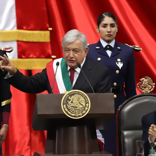 Newly appointed Mexican President Andres Manuel Lopez Obrador speaks after the swearing-in ceremony during the events of the Presidential Investiture as part of the 65th Mexico Presidential Inauguration at Congress of the Union on December 01, 2018 in Mexico City, Mexico. (Credit: Getty Images)