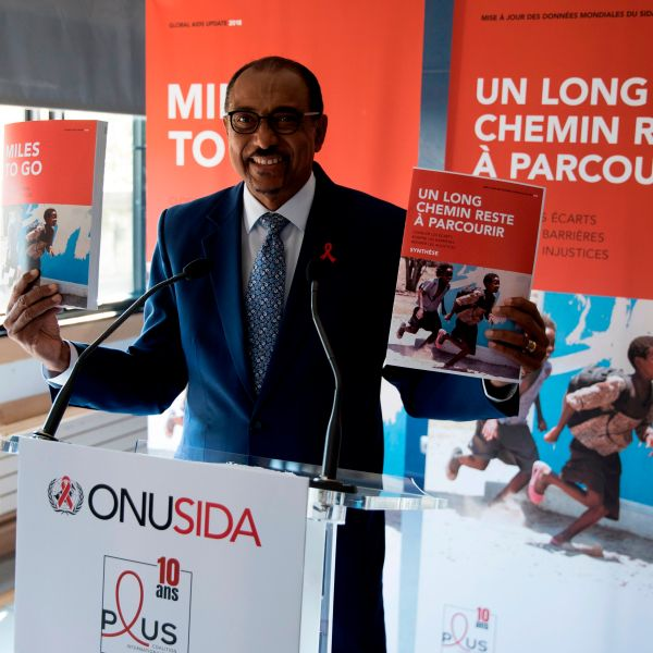 Malian Michel Sidibe, executive director of UNAIDS, presents the UNAIDS report during a press conference at the Paris Institute of Political Studies (Science Po), on July 18, 2018, in Paris. (Credit: Thomas SAMSON / AFP/Getty Images)