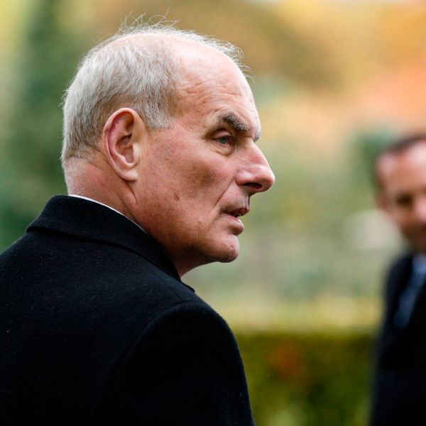 Retired United States Marine Corps general and White House Chief of Staff John F Kelly visits the Aisne-Marne American Cemetery and Memorial in Belleau, on Nov. 10, 2018, as part of commemorations marking the 100th anniversary of the Nov. 11, 1918, armistice, ending World War I. (Credit: Geoffroy VAN DER HASSELT / AFP /Getty Images)