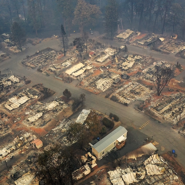 A Paradise neighborhood destroyed by the Camp Fire is seen in an aerial view on Nov. 15, 2018. (Credit: Justin Sullivan / Getty Images)