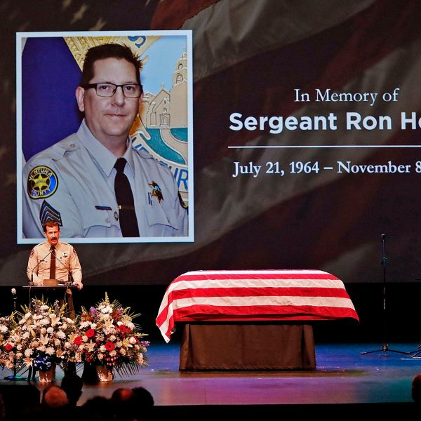 Ventura County Sheriff Bill Ayub addresses the crowd attending the memorial service for Ventura County Sheriff Sgt. Ron Helus at Calvary Community Church in Westlake Village, California on Novmember 15, 2018. - Sgt. Helus was one of twelve victims of the Borderline Bar & Grill mass shooting in Thousand Oaks last week. (Photo by Al Seib / POOL / AFP) (Photo credit should read AL SEIB/AFP/Getty Images)