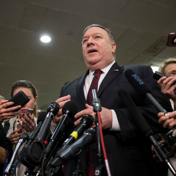 U.S. Secretary of State Mike Pompeo speaks to the press after briefing members of the Senate on the current relationship between Saudi Arabia and the United States on Capitol Hill on Nov. 28, 2018, in Washington, DC. (Credit: Zach Gibson/Getty Images)