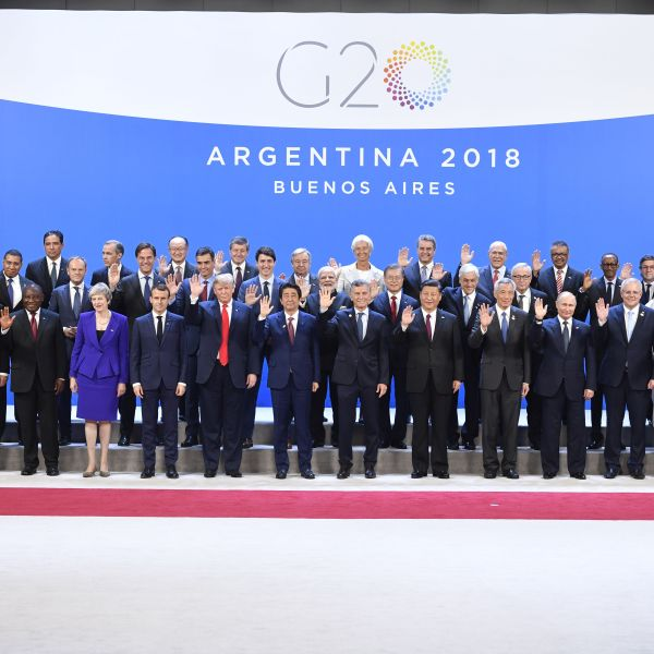 Participants of the G20 Leaders' Summit in Buenos Aires, pose for a family photo on Nov. 30, 2018.(Credit: ALEXANDER NEMENOV/AFP/Getty Images)