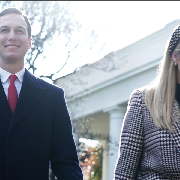 Jared Kushner and Ivanka Trump and leave after a turkey pardoning event at the Rose Garden of the White House Nov. 20, 2018 in Washington, D.C. (Credit: Alex Wong/Getty Images)