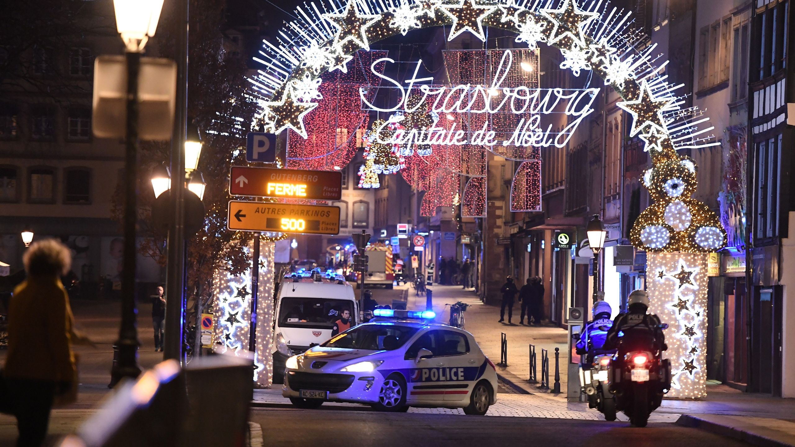 A police car is seen in Strasbourg, eastern France after a shooting on Dec 11, 2018. (Credit: FREDERICK FLORIN/AFP/Getty Images)