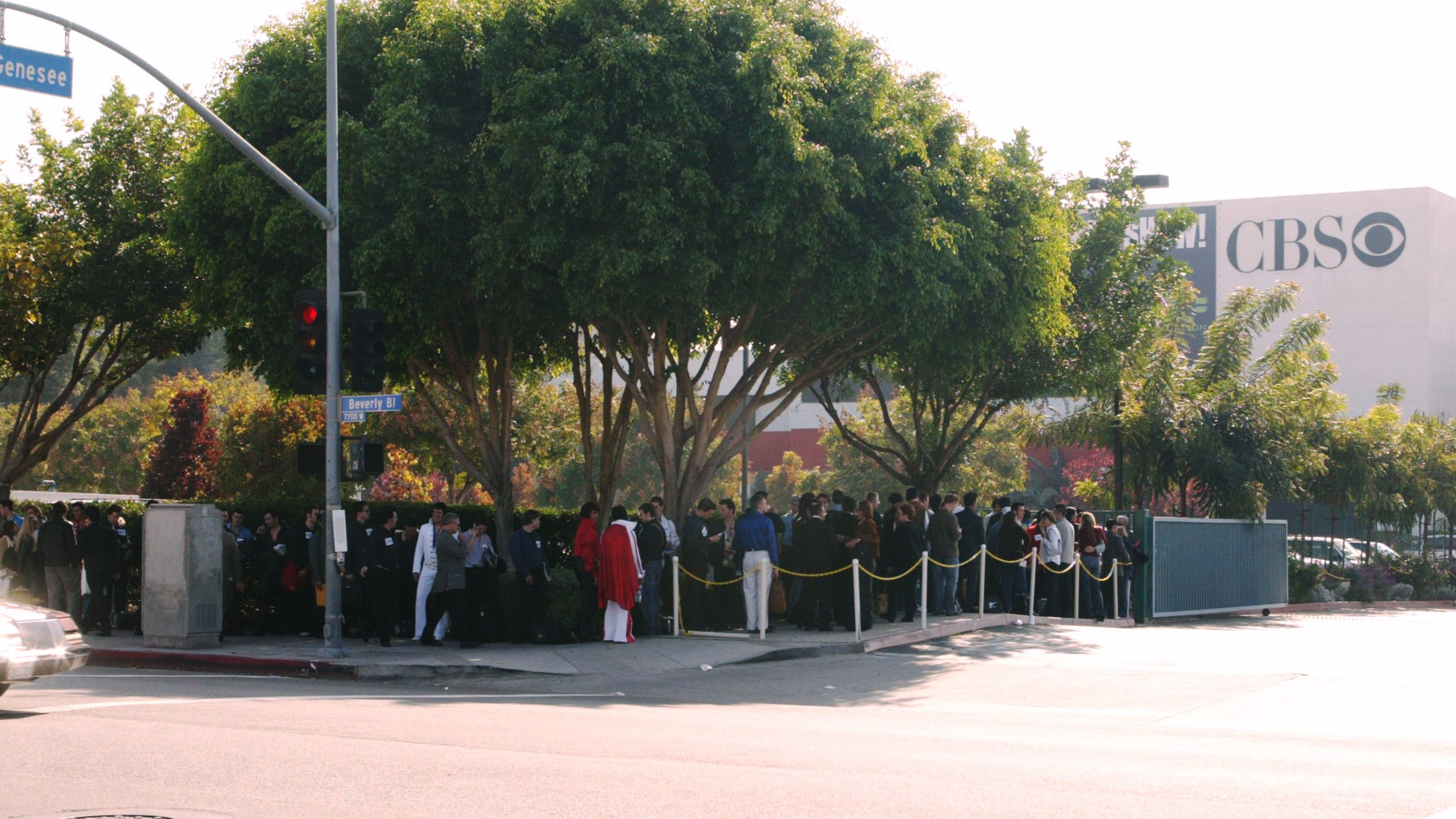 "Participants wait in line outside CBS Television City for tryouts during the ""Elvis"" opening casting call on Oct. 10, 2004. (Credit: Frederick M. Brown / Getty Images)"