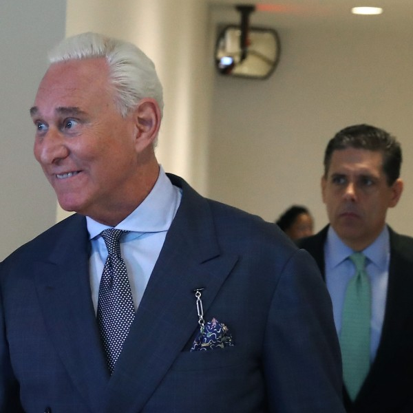 Roger Stone, former advisor to President Trump, arrives to appear before the House Intelligence Committee, Sept. 26, 2017, in Washington, D.C. (Credit: Mark Wilson/Getty Images)
