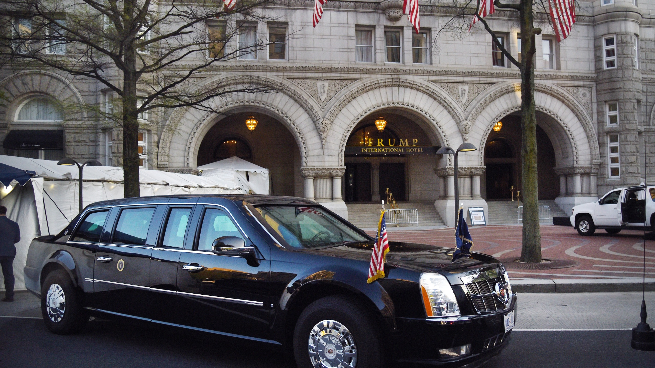 The presidential limousine is parked in front of the Trump hotel in Washington, D.C. on April 30, 2018. (Credit: Olivier Douliery-Pool/Getty Images)