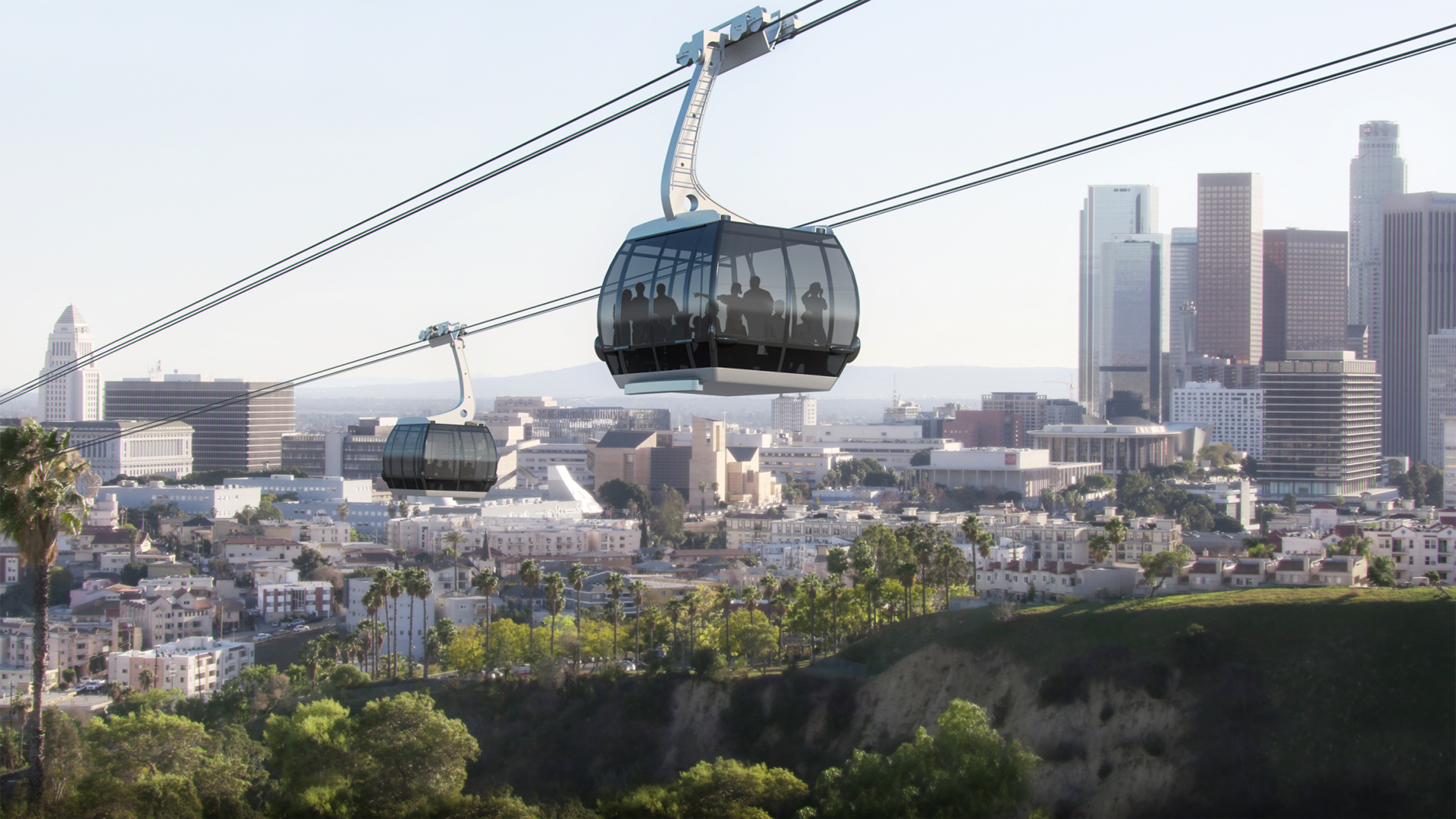 A rendering of the proposed Dodger Stadium gondola project. (Credit: Aerial Rapid Transit Technologies)