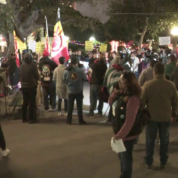 Dozens gathered for a vigil in remembrance of Jakelin Caal, the 7-year-old girl who died in Border Patrol custody, in downtown Los Angeles on Dec. 17, 2018. (Credit: KTLA)