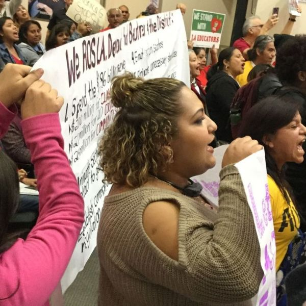 Demonstrators, some of whom chanted in protest of Supt. Austin Beutner's leadership, prompted the shutdown of a Los Angeles Board of Education meeting on Dec. 11, 2018. (Credit: Howard Blume / Los Angeles Times)