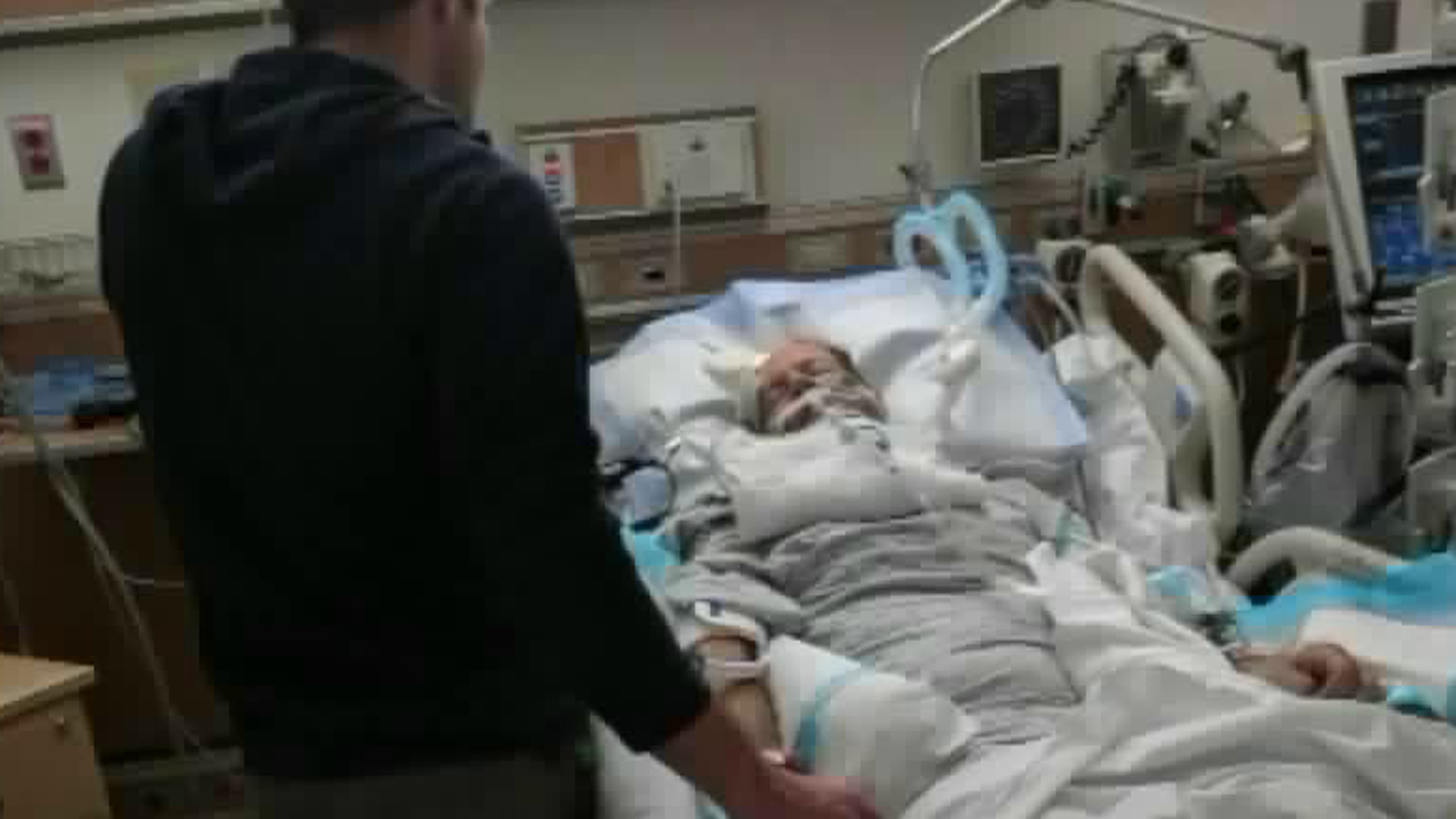 Keith Jackson, who was struck while cycling along La Tuna Canyon in Sun Valley on Dec. 9, 2017, is seen being hospitalized after the near fatal crash in this undated image provided to KTLA by his family.