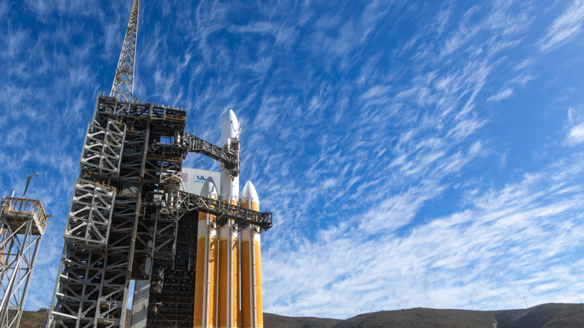 A Delta IV Heavy rocket sits on Vandenberg Air Force Base's launch pad on Dec. 19, 2018. (Credit: ULA)