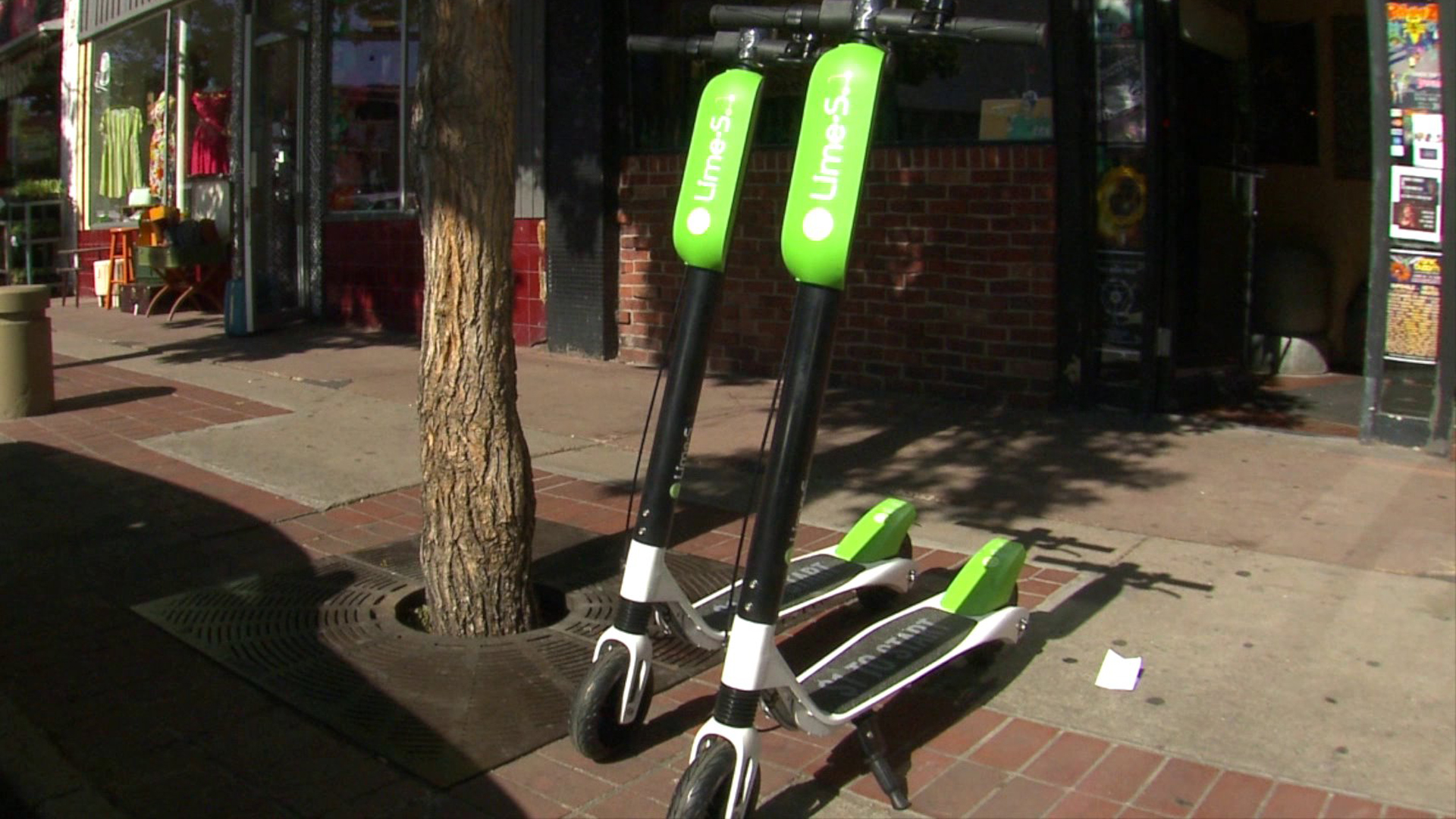 Lime scooters are seen in a file image. (Credit: KTLA)