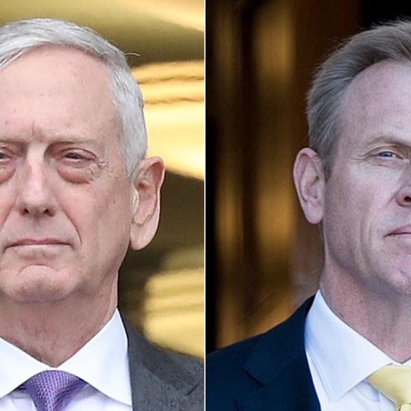 Jim Mattis, left, appears at the Pentagon on Nov. 9, 2018 in Arlington, Virginia. Patrick Shanahan, right, listens to the National Anthem outside the Pentagon on Nov. 20, 2017.(Credit: Mark Wilson / Staff/BRENDAN SMIALOWSKI/AFP/Getty Images)