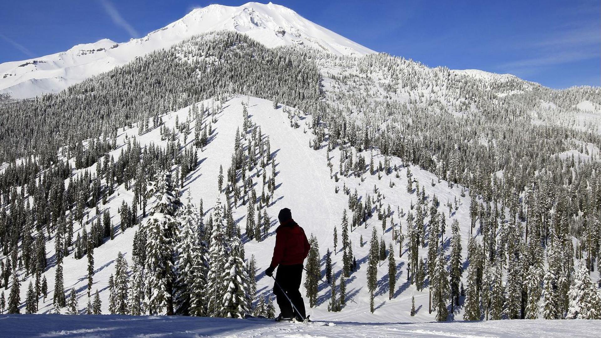 The snow is currently 9 feet deep on Mt. Shasta, but a new study suggests that the Sierra snowpack could be reduced by 79% by the end of the century. (Credit: Allen J. Schaben / Los Angeles Times)