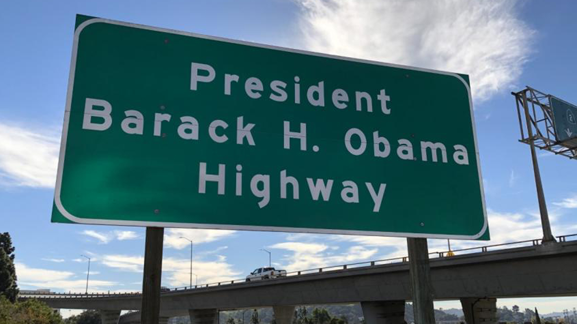 A newly installed sign renaming a portion of the 134 Freeway after Barack Obama in a photo posted to Sen. Anthony J. Portantino's website on Dec. 20, 2018.