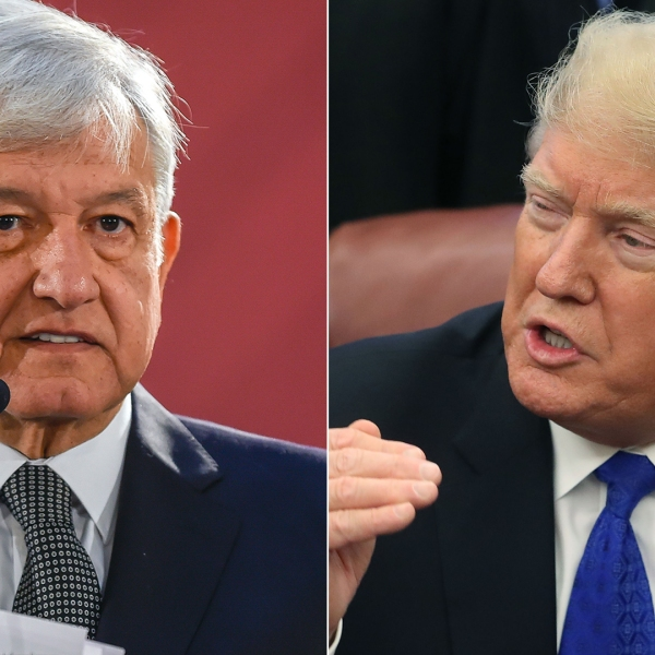 Mexico's President Andres Manuel Lopez Obrador, left, gives his first press conference as president on Dec. 3, 2018. At right, President Donald Trump speaks after signing a bill in the Oval Office on Dec. 11, 2018. (Credit: Alfredo Estrella / Mark Wilson / Getty Images)
