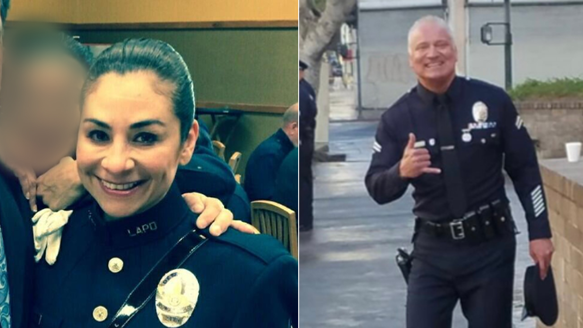 Los Angeles Police Department Robbery-Homicide Division Detective Ysabel Villegas, left, and Central Division Senior Lead Officer Danny Reedy, right, are seen in undated photos. (Credit: @LAPDCentral on Twitter/@LAPDOCB on Twitter)