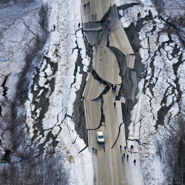 This aerial photo shows damage south of Wasilla, Alaska, after earthquakes Friday. (Credit: CNN)