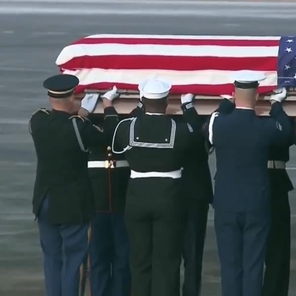 The casket of former President George H.W. Bush arrives in Houston. (Credit: CNN)