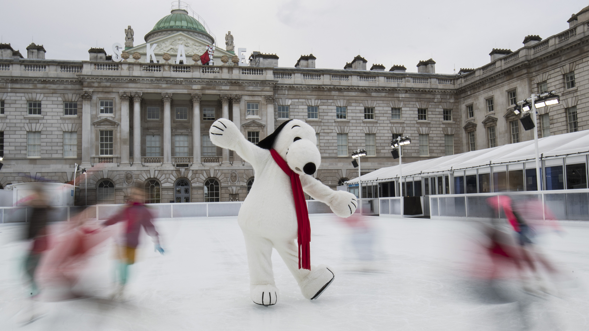 Snoopy joins future star skaters on the ice to celebrate the launch of Skate at Somerset House with Fortnum & Mason 2018 and winter exhibition Good Grief, Charlie Brown on Nov. 12, 2018 in London, England. (Credit: John Phillips/Getty Images)