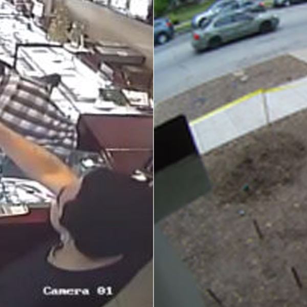 Left, robbers are seen being fought off by workers at a South Pasadena jewelry store on Dec. 14, 2018. The suspect vehicle in the robbery attempt is seen right in a photo released by police the following day.