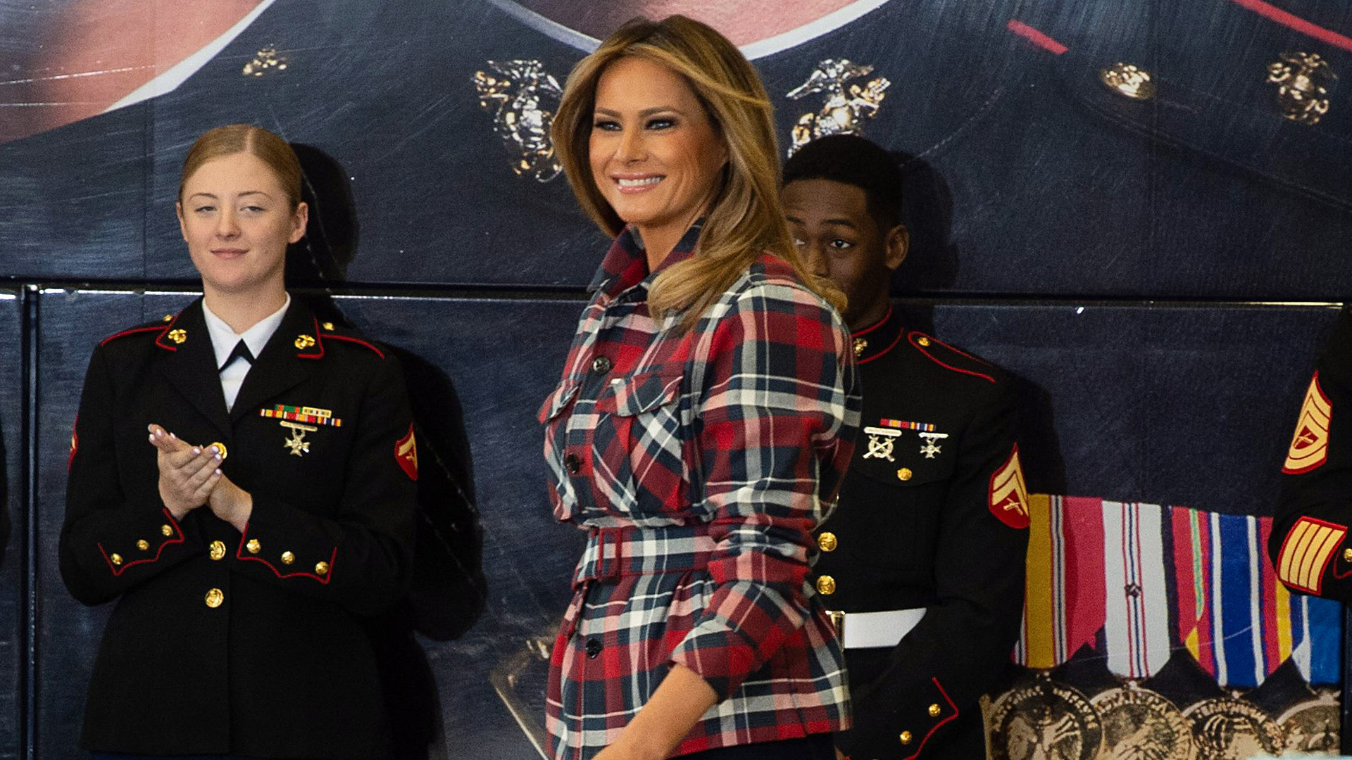 U.S. First Lady Melania Trump attends a Toys for Tots event at Joint Base Anacostia-Bolling in Washington, D.C., on Dec. 11, 2018. (Credit: NICHOLAS KAMM/AFP/Getty Images)