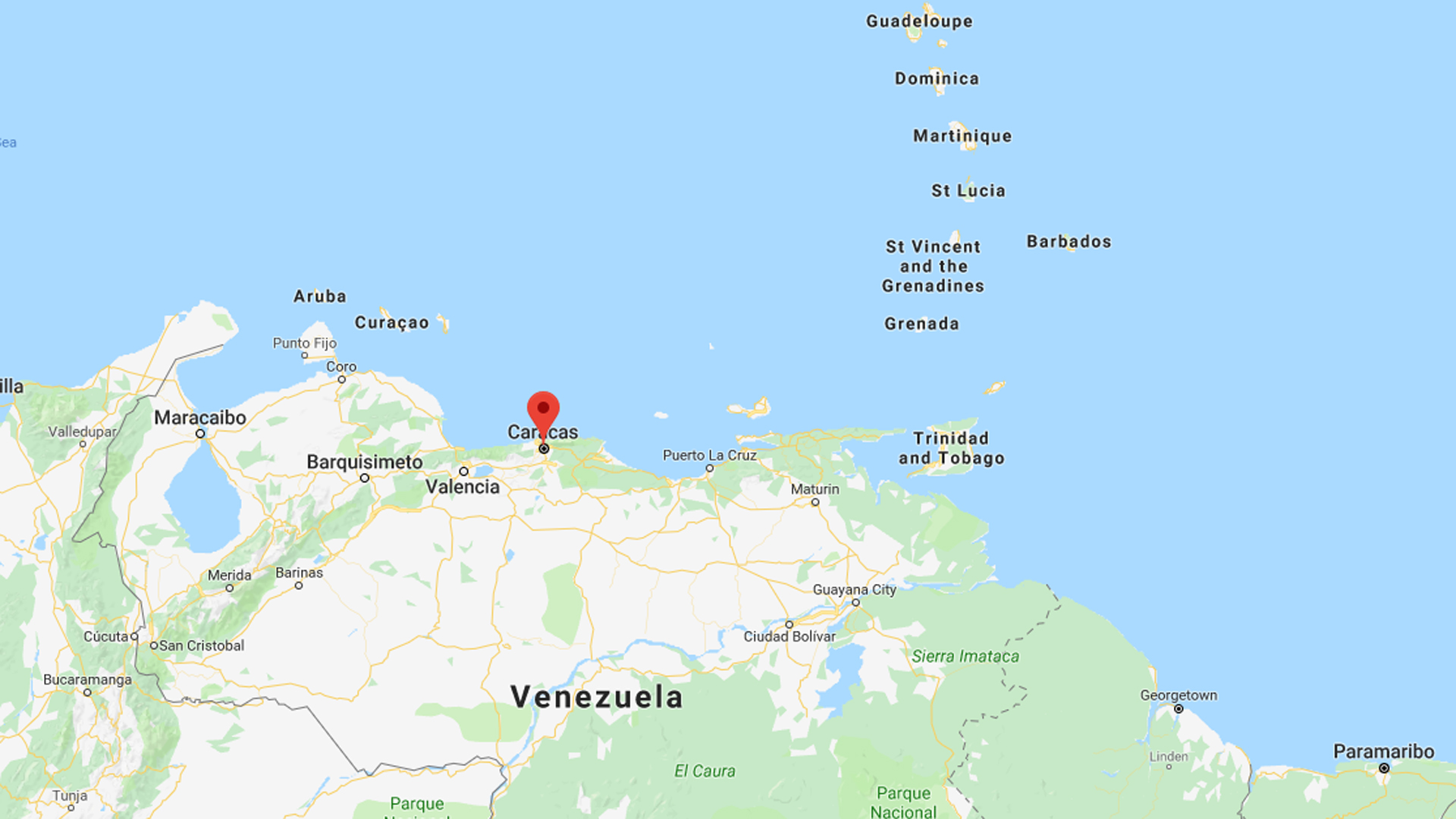 Caracas, Venezuela is seen in this undated image from Google Maps.