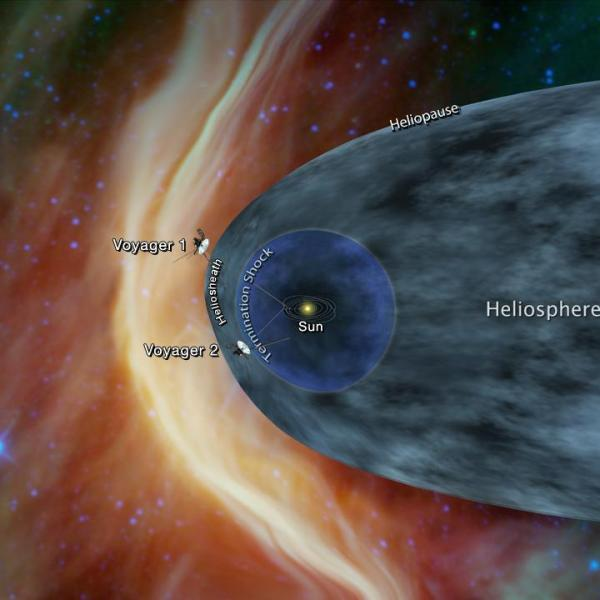 This graphic shows the position of the Voyager 1 and Voyager 2 probes, relative to the heliosphere, a protective bubble created by the Sun that extends well past the orbit of Pluto. (Credit: NASA/JPL-Caltech)