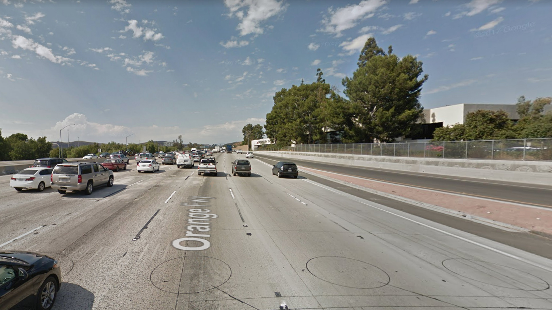 The northbound 57 Freeway, just north of Imperial Highway, in Fullerton, as pictured in a Google Street View image in July of 2017.