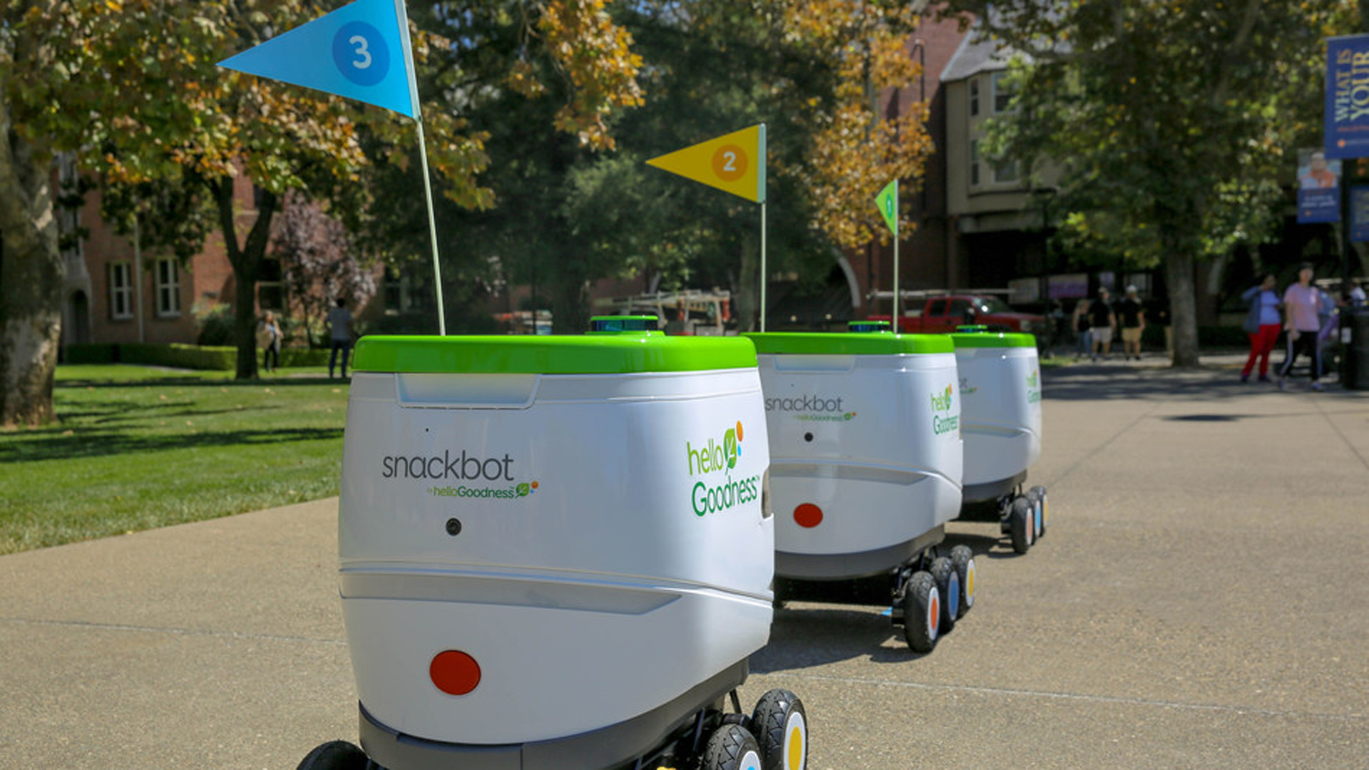 PepsiCo's fleet of Hello Goodness snackbots will start delivering snacks and beverages directly to students at the University of Pacific in Stockton on Jan. 3, 2019. (Credit: PepsiCo)