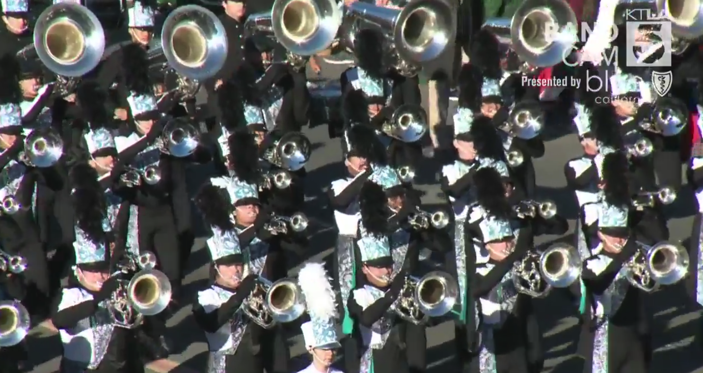 A marching band participates in the 2019 Rose Parade on Jan. 1, 2019. (Credit: KTLA)