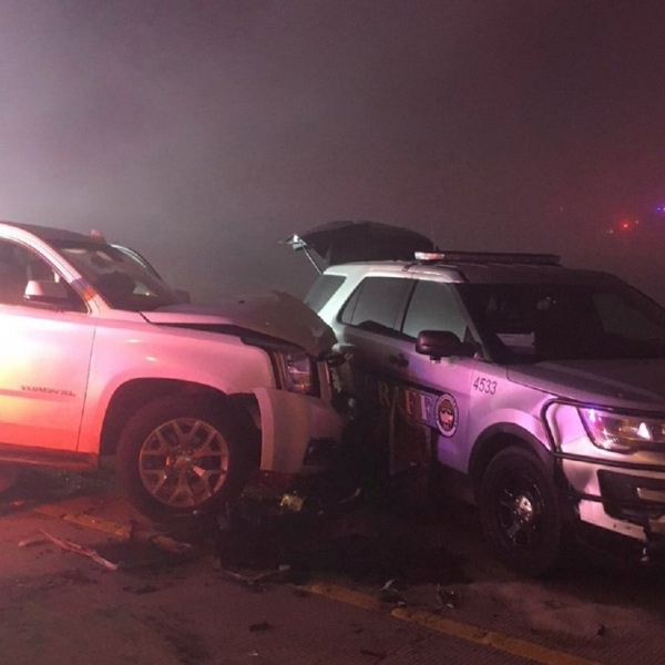 A sheriff's vehicle was among more than 20 vehicles involved in a crash that took place amid heavy fog in Austin, Texas, on Jan. 1, 2019. (Credit: Austin Fire Dept.)