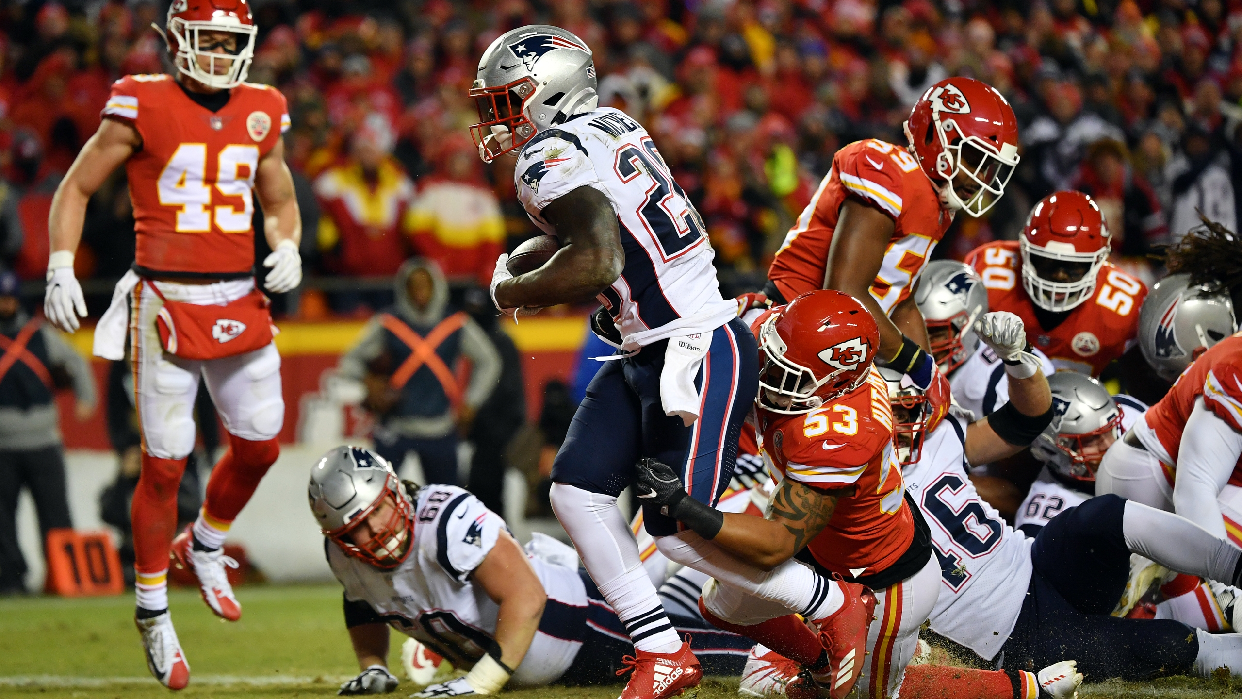 Sony Michel #26 of the New England Patriots rushes for a 1-yard touchdown in the first quarter against the Kansas City Chiefs during the AFC Championship Game at Arrowhead Stadium on January 20, 2019 in Kansas City, Missouri. (Credit: Peter Aiken/Getty Images)