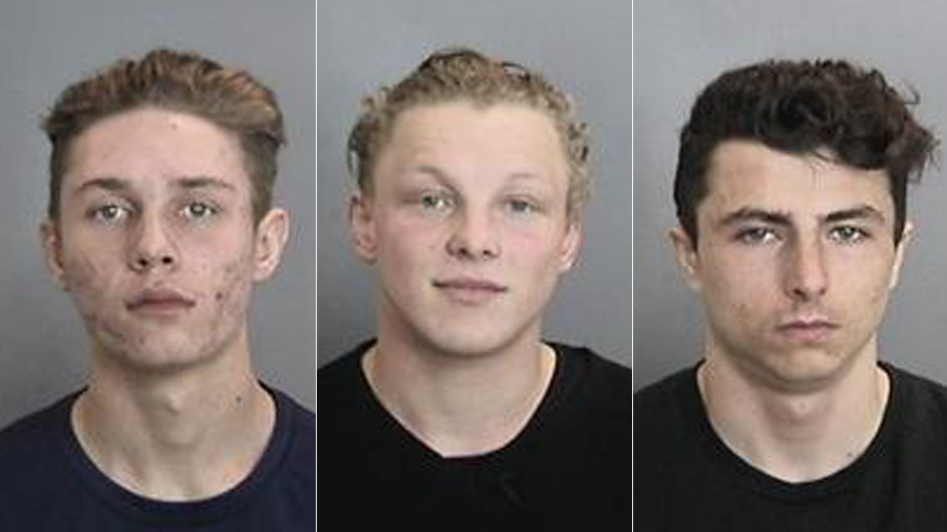 (Left to right) Jonathan Rowe, Larry Douglass and Zachary Goemaat are shown in photos released by the Anaheim Police Department on Jan. 30, 2019.