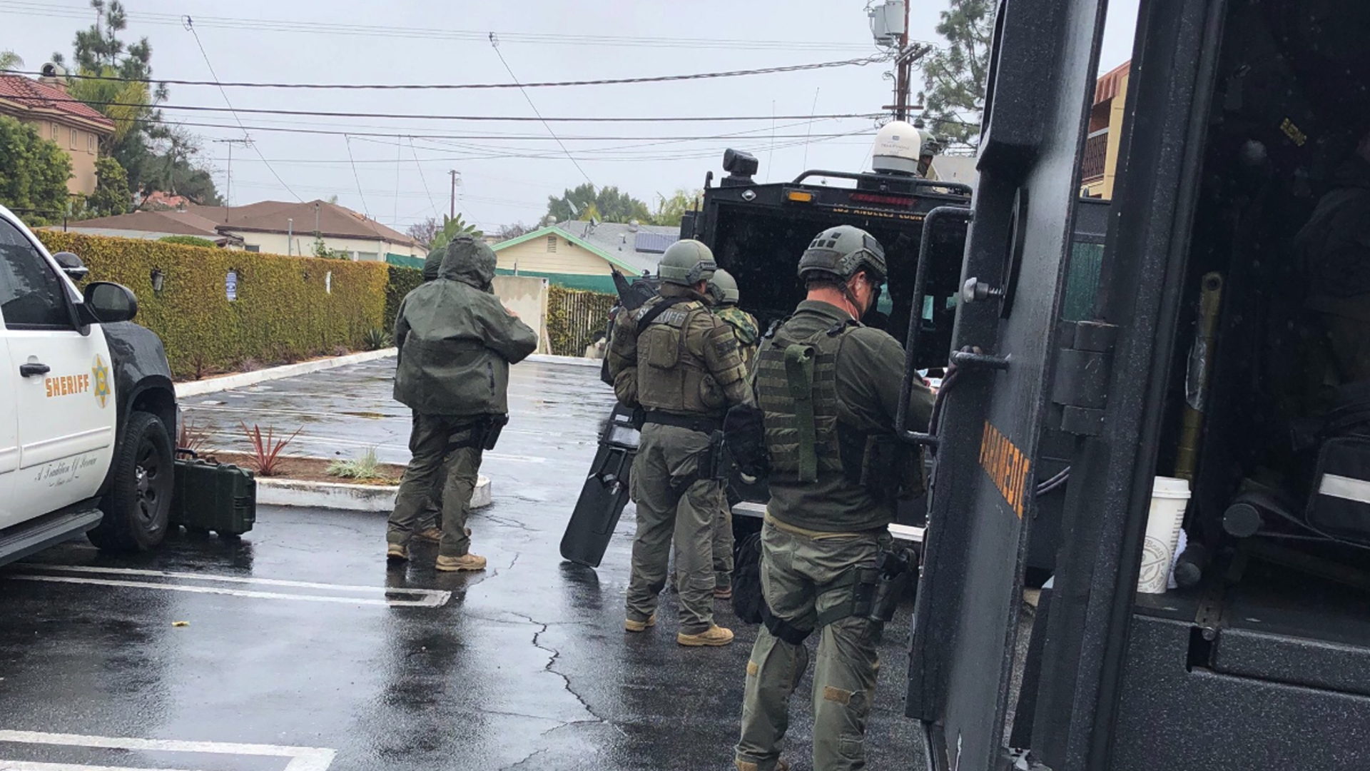 The Los Angeles County Sheriff's Department tweeted this photo of authorities responding to a barricaded situation outside a hotel in Culver City on Jan 7, 2019.