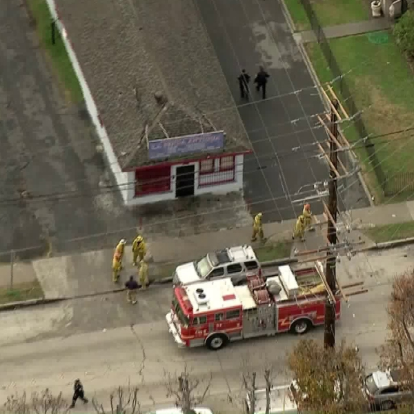 Fire and law enforcement vehicles were at the scene of a possible carbon monoxide incident in Bell Gardens on Jan. 15, 2019. (Credit: KTLA)