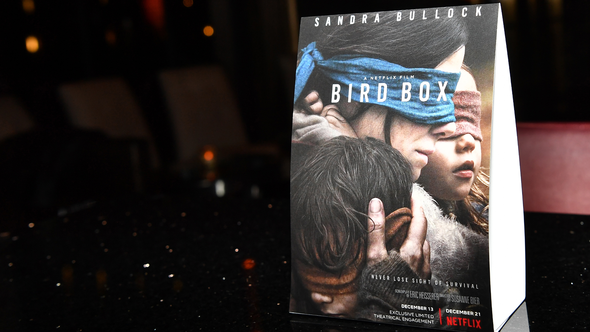 """A view of an ad for """"Bird Box"""" is seen at a screening in Atlanta at Cinebistro Town Brookhaven on Dec. 19, 2018. (Credit: Paras Griffin/Getty Images for Netflix)"""
