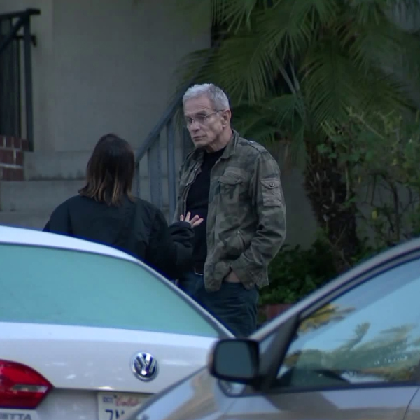 Ed Buck is seen outside his West Hollywood apartment on Jan. 10, 2019. (Credit: KTLA)