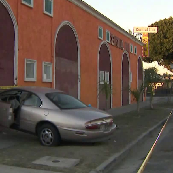 A car is seen after slamming into a South L.A. motel, injuring two, on Jan. 4, 2019. (Credit: KTLA)